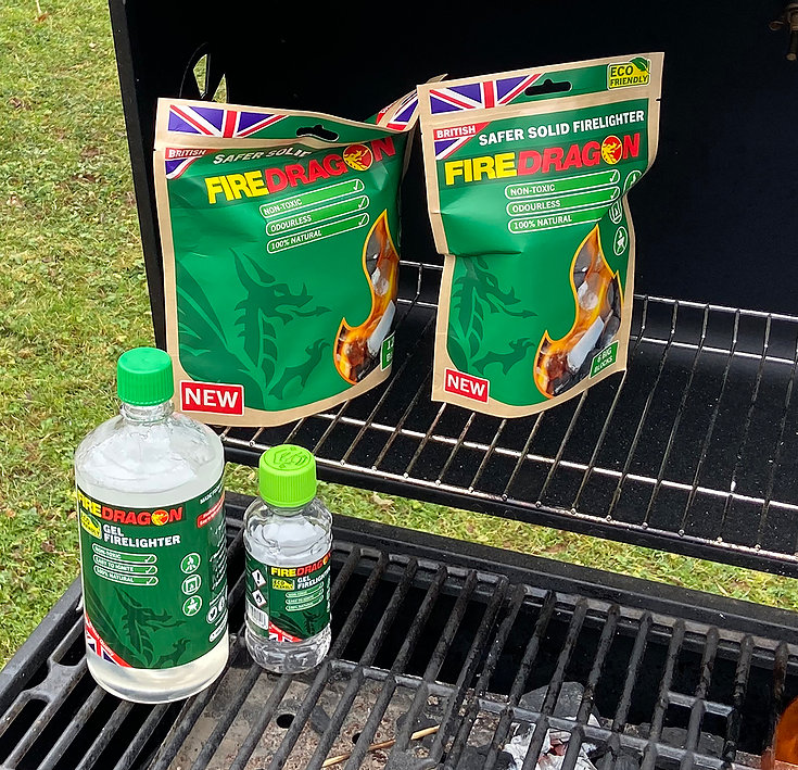 FireDragon Fuel Full range of products on a BBQ
