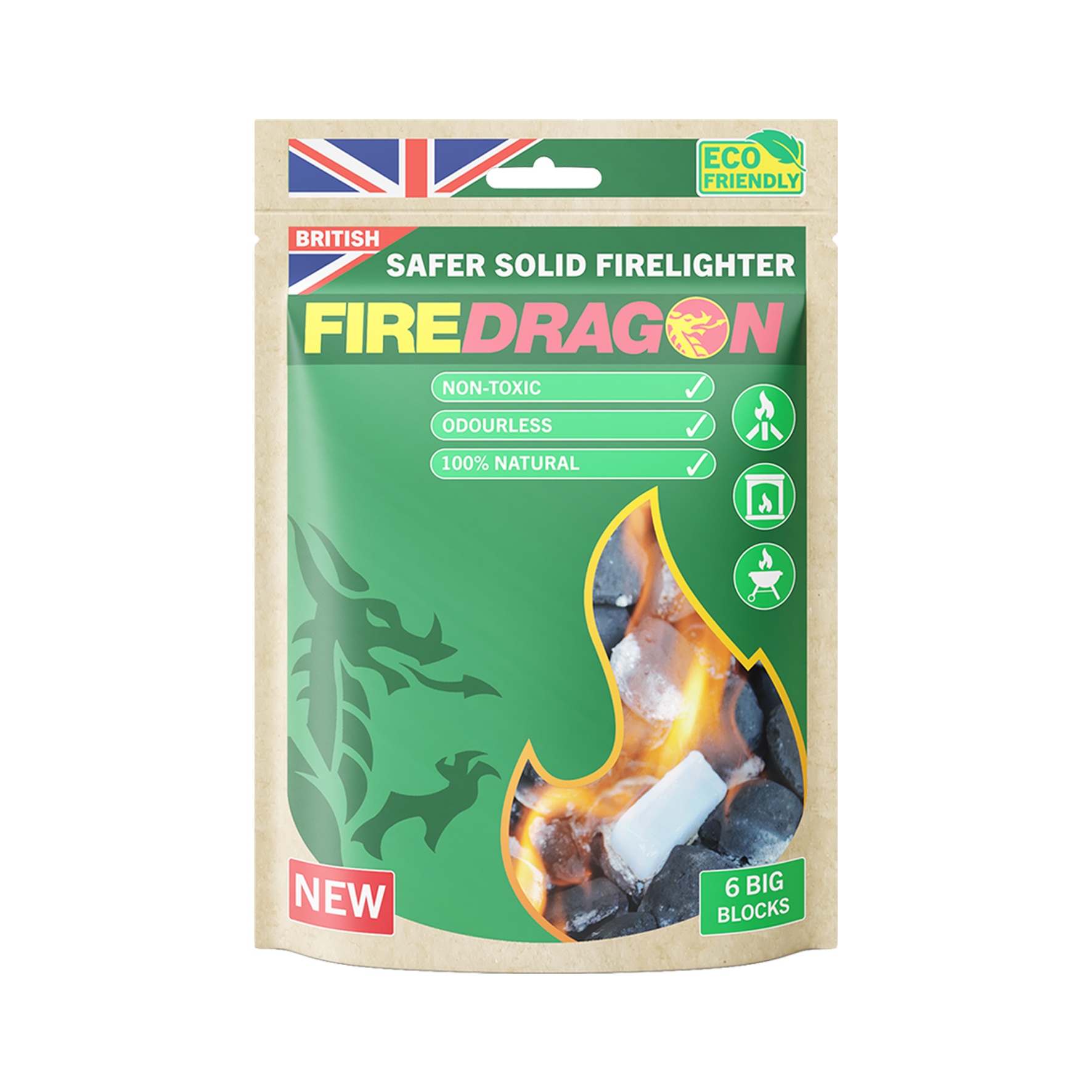 FireDragon Solid eco-friendly Firelighter and fuel pack of 6 packaging