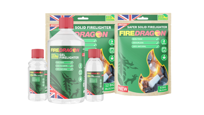 FireDragon's full ranges of Firelighters and Fuels Including Solids, Gels, Liquids